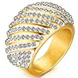 Women Gold Plated Crystal Wedding Bands Vintage 316L Stainless Steel Engagement Rings High Polished Finish Comfort Fit Size 7-9