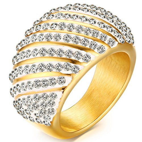 Dark Flame Master Costume (Women Gold Plated Crystal Wedding Bands Vintage 316L Stainless Steel Engagement Rings High Polished Finish Comfort Fit Size 8)
