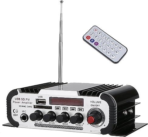 HiFi Amplificador, ARCHEER Mini Reproductor de Musica, Maquina de Karaoke Estereo Control Remoto, Soporta a FM / MP3 / MP4 / SD/USB/DVD, para Coche ...