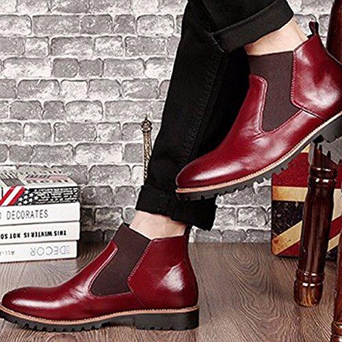 Inverno Marrone Nero Casual degli Pelle rosso Stivaletti Britannico Scarpe uomini Chelsea Morbida Brogues Moda Stile Pelliccia Vino In Boots di gFrCqg4w