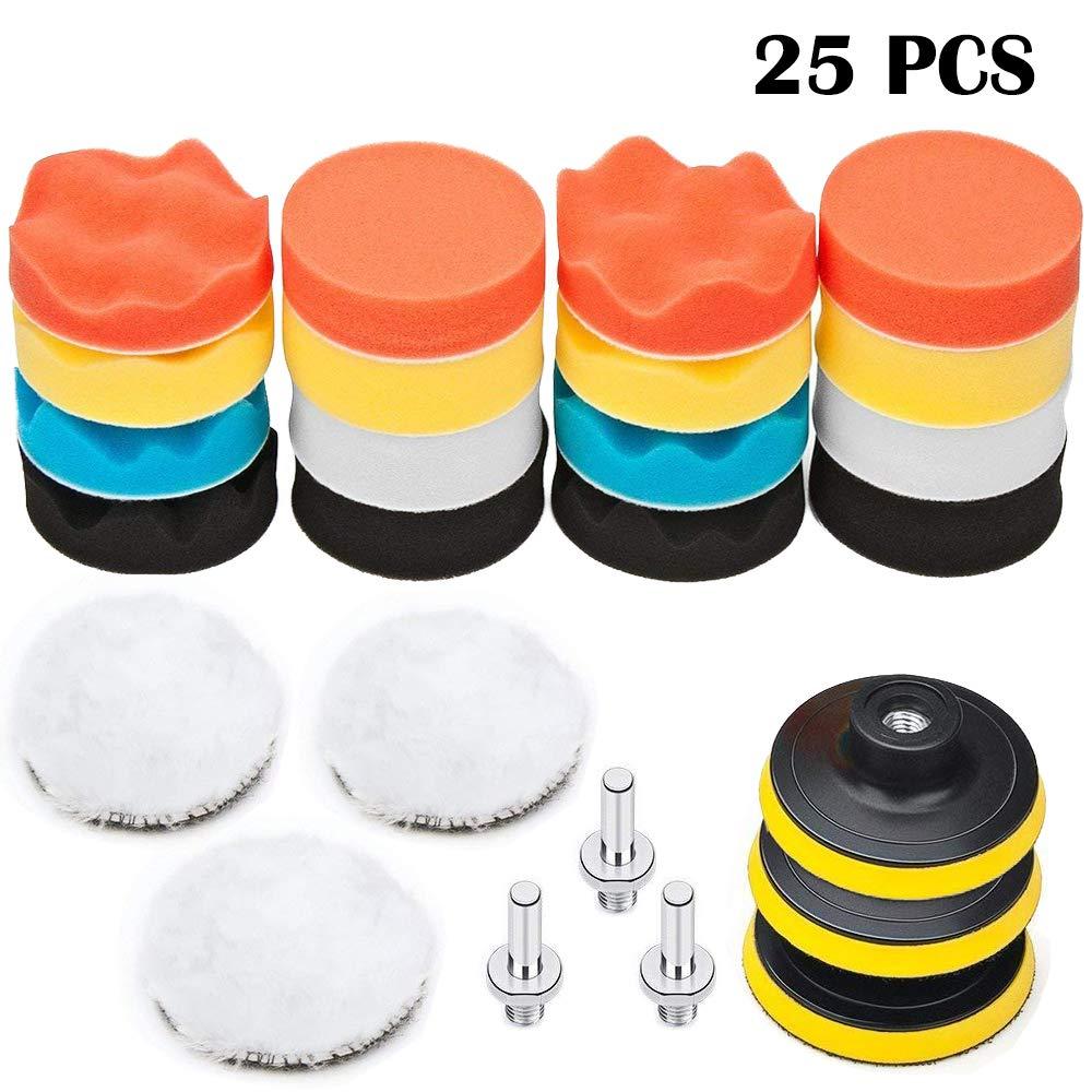 BangShou 25Pcs Car Polishing Sponge Pad for Drill Car Polisher. 3 inch, 80 mm Wool Polishing Sponge Set Drill Bit Adapter Set Kits Compound Polish Pads