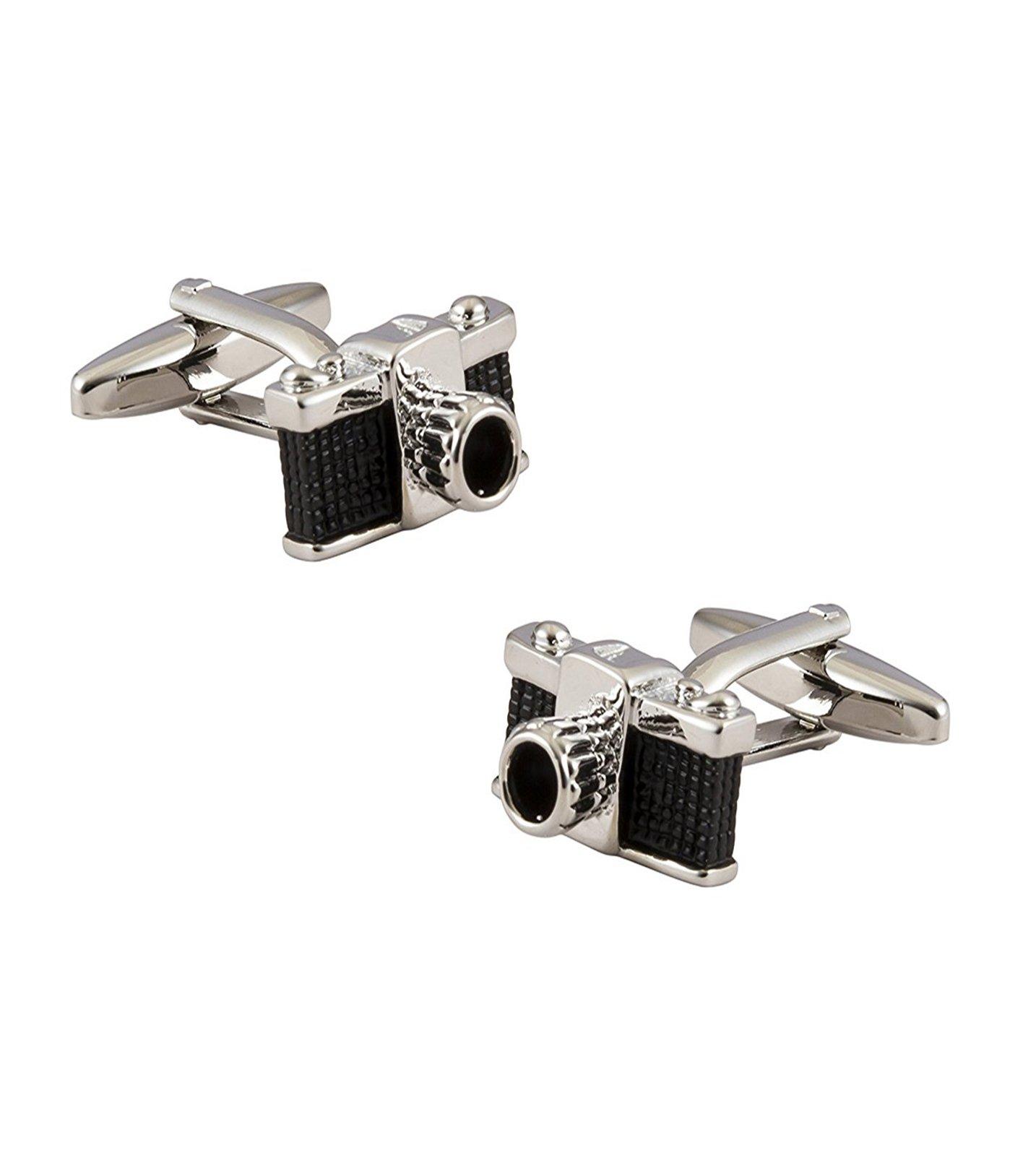 The Jewelbox Camera Black Rhodium Plated Brass Cufflink Formal Shirt Blazer Suit Cufflinks Pair Men Gift Box