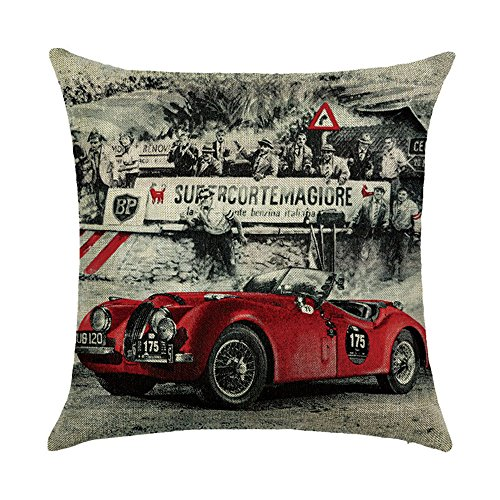 Hengjiang Cushion Covers With Retro vintage style London New York Rome Paris City View Painting 120g Thick Cotton Linen Double-sided 18x18/45x45cm Throw Pillow Cases]()