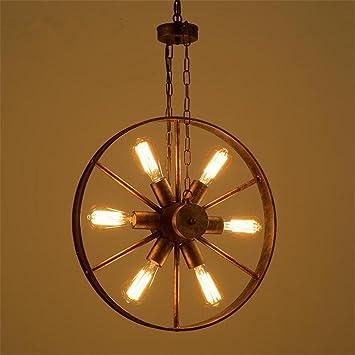 Atmko®Iluminación colgante Lámparas de araña Rueda de hierro ...