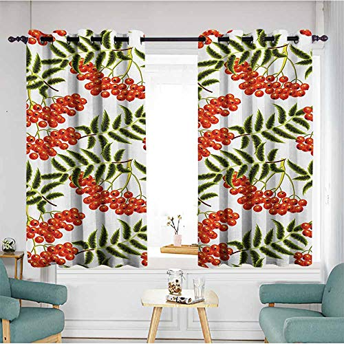 AndyTours Custom Curtains,Rowan Vibrant Red Berries Mountain Ashes Pattern Rural Nature Garden Theme,Insulated with Grommet Curtains for Bedroom,W55x72L,Scarlet Olive Green White ()