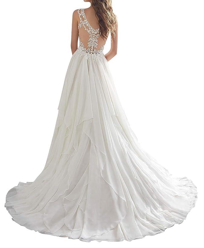 Amazon.com: Vestido de novia de encaje vestidos de novia ...