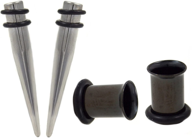Single Black Tapers /& 3 Pairs Single-Flare Plugs Ear Kit-Set 00g 0g 2g Gauges