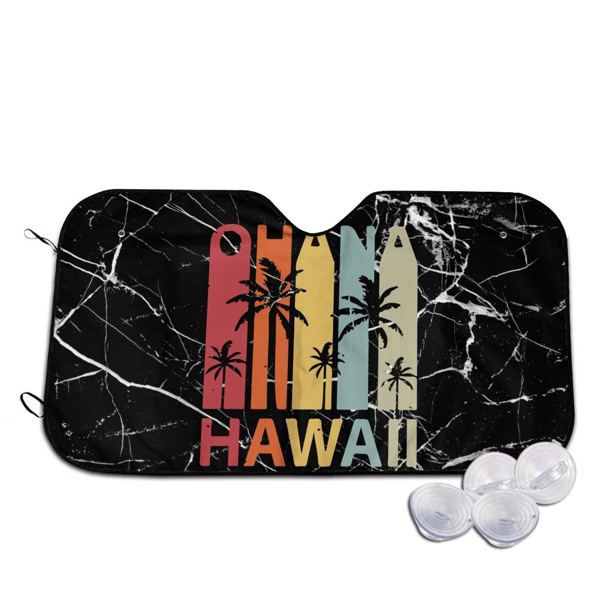 BAG9S-G1 Ohana Hawaiian Retro Windshield Sunshade for Car Foldable Sunshade for Car SUV Trucks Minivans Sunshades Keeps Vehicle Cool