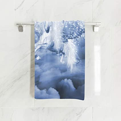 Ahomy Toallas de Mano, 38 cm x 76 cm, con diseño de Unicornio Blanco