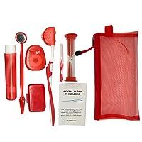 Net Bag Portable Orthodontic Care Kit Orthodontic Toothbrush Kit for Orthodontic Patient for Braces Travel Oral Care Kit Dental Travel Kit Interdental Brush Dental Wax Dental Floss (8 Pcs/Pack)-Red