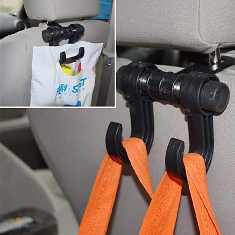 Hihey Car Headrest Hook Black Organizer Bags Clothes Hanger Hook Hook Universal Fit Car Seat Hook Double Hanger Organizer Holder