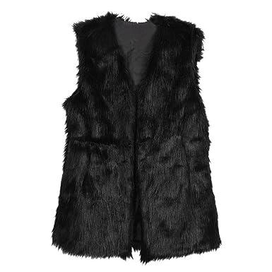 ETOSELL Lady Faux Fur Vest Waistcoat Long Hair Winter Warm Coat ...