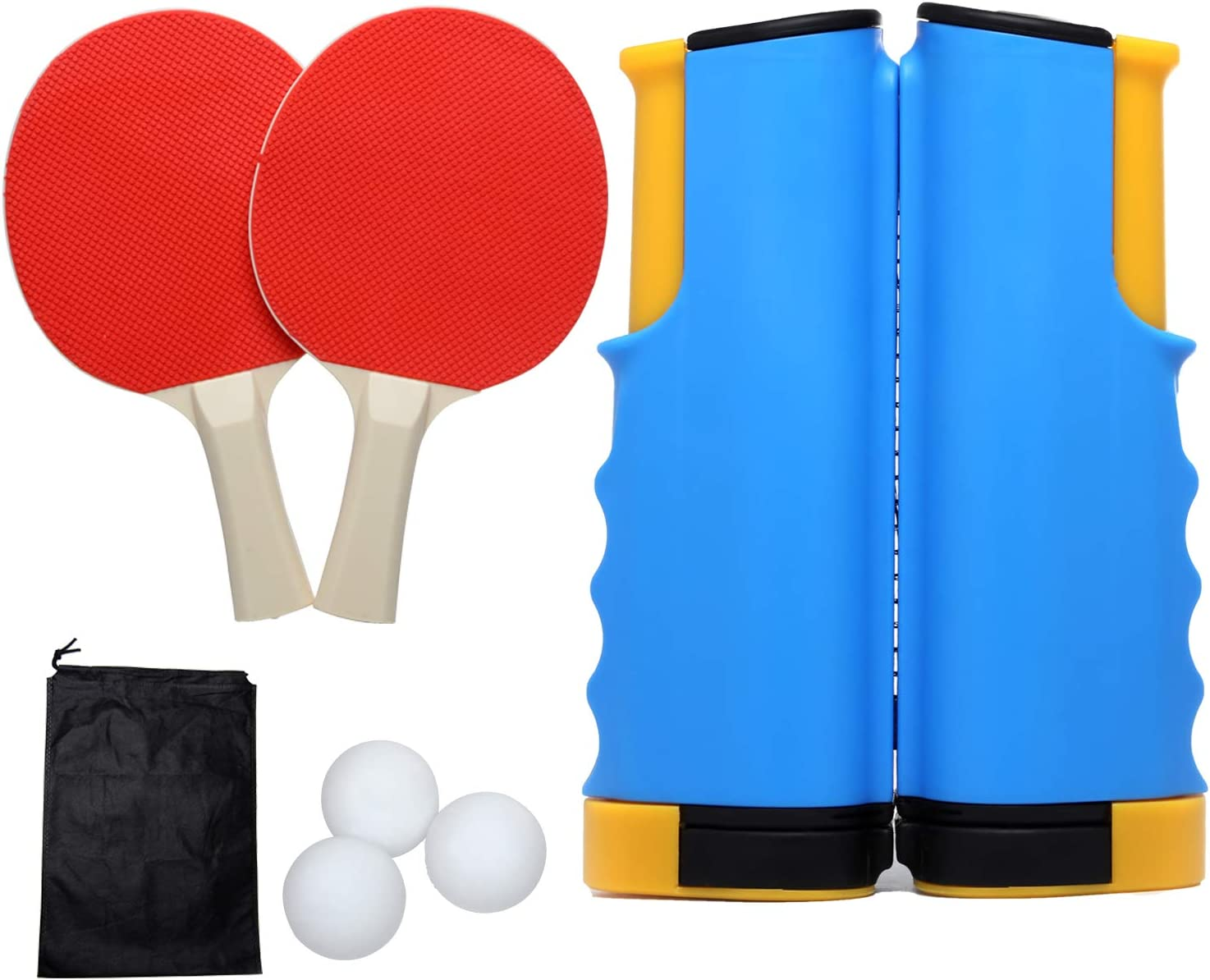Portable 3 Table Tennis 2 Clips 3 Balls  Net Rack Complete Set Family Indoor Toy