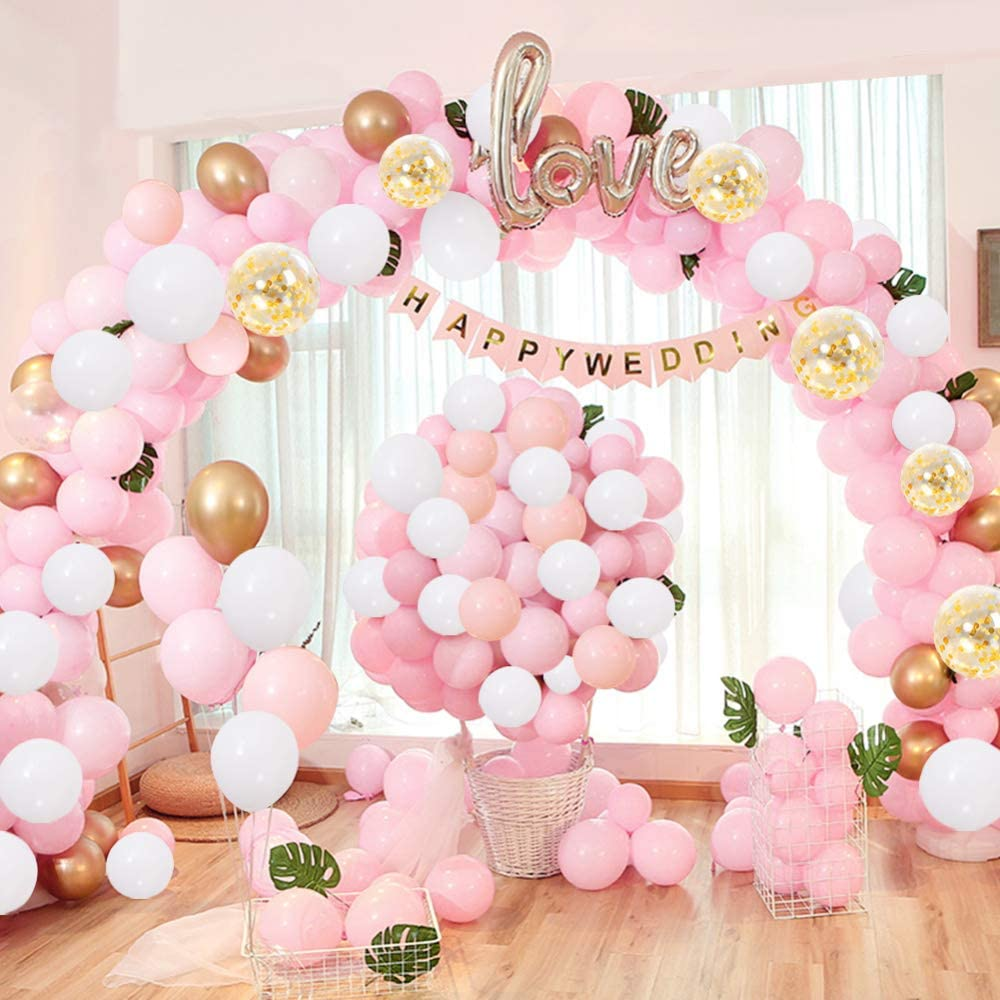 32Ft Long 133pcs Pink White Gold Balloons Pack Arch for Girl Birthday Baby Shower Bachelorette Party Wedding Decorations URparty Balloon Garland Kit Arch