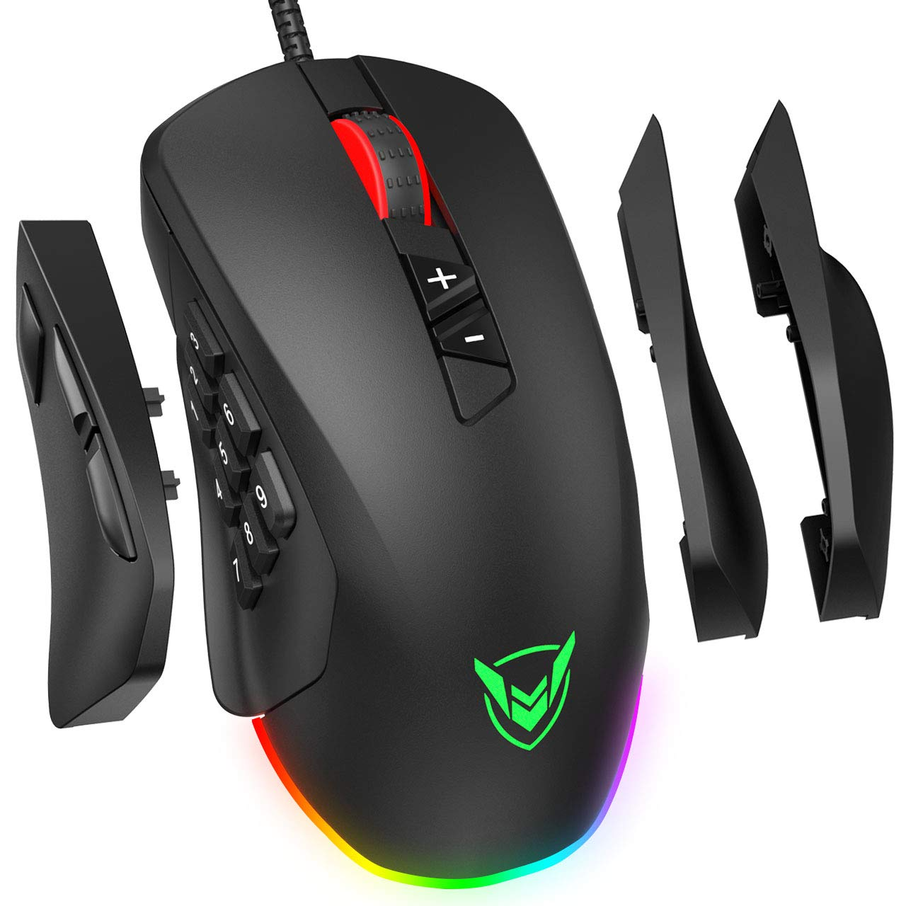 PICTEK Gaming Mouse Wired, 24,000 DPI Optical Sensor-Chroma RGB Lighting, MMO Gaming Mice with 17 Programmable Buttons, 4 Interchangeable Side Plate 3 9 Buttons, Palm Claw Grip Ergonomic for PC Gamer