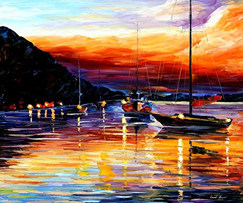 DIY Oil Paint by Number Kit for Adults Beginner 16x20 Inch - Messina Harbor in Sunset,Drawing with Brushes Living Room Decor Decorations Gifts (Framed)