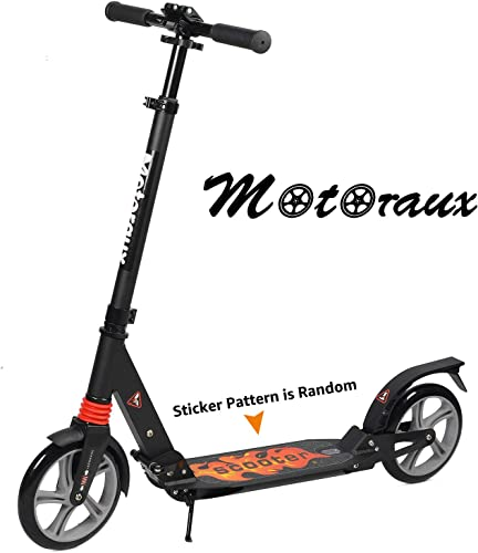 MOTORAUX Scooters for Adults Teens, Kick Scooter with Adjustable Height Dual Suspension and Shoulder Strap 8 inches Big Wheels Scooter Smooth Ride Commuter Scooter Best Gift for Kids Age 10 Up