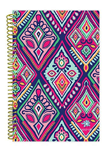 "bloom daily planners 2017-18 Academic Year Daily Planner - Passion/Goal Organizer - Monthly and Weekly Datebook and Calendar - August 2017 - July 2018 - 6"" x 8.25"" - Bohemian Ikat"