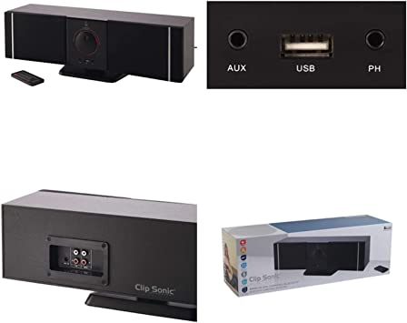 Clip Sonic Altavoz Barra de Sonido Bluetooth con USB Port televisor Caja de música Mando a