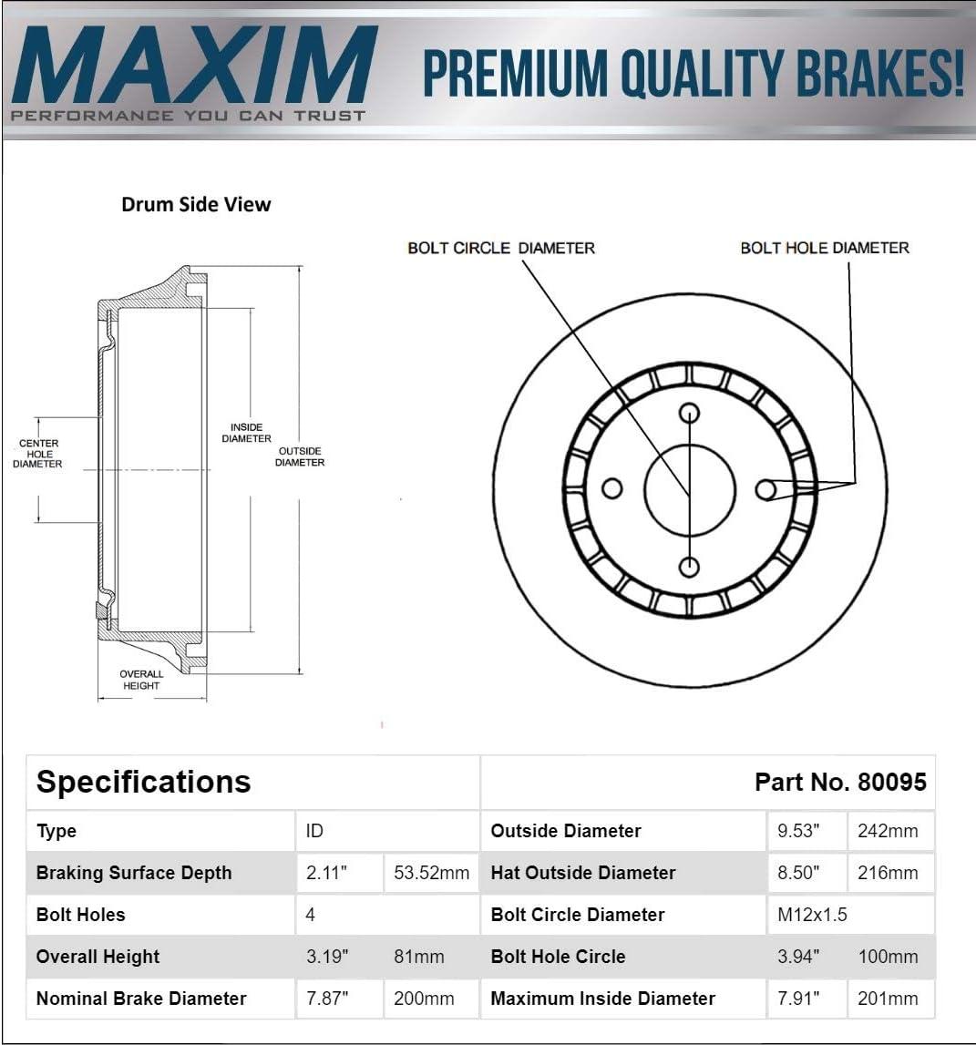 Lanos Chevette T1000 Citation II Fits Rear Premium Quiet technology Brake Drums 80095