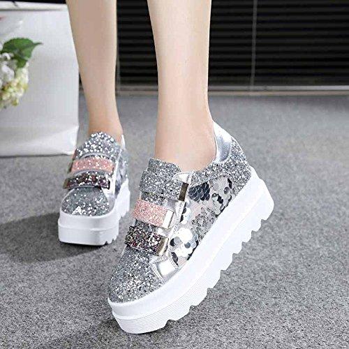 7cm scarpe Ajunr Silver maggiore Alla le Moda primavera il spesse Donna Da respirabile muffin Sandali wwavxqpOS