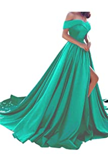 Amazoncom Harsuccting Off The Shoulder Beaded Satin Evening Prom