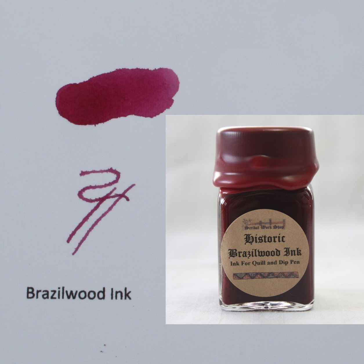 Historic Brazilwood red ink for dip pens