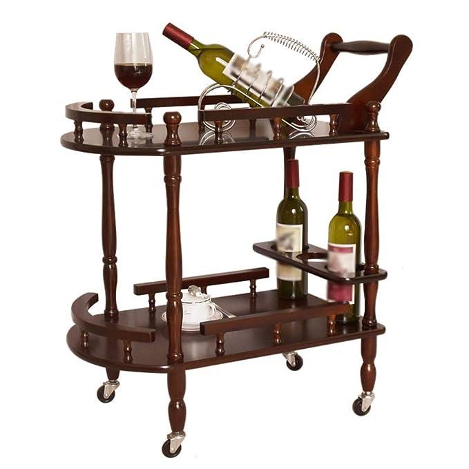 Mesa Carrito Camarera Madera Maciza Rueda De Goma Puede Moverse Estilo Europeo Estantería De Vino con Barandilla Cocina, Carga 20 Kg (Color : Vino Rojo): ...