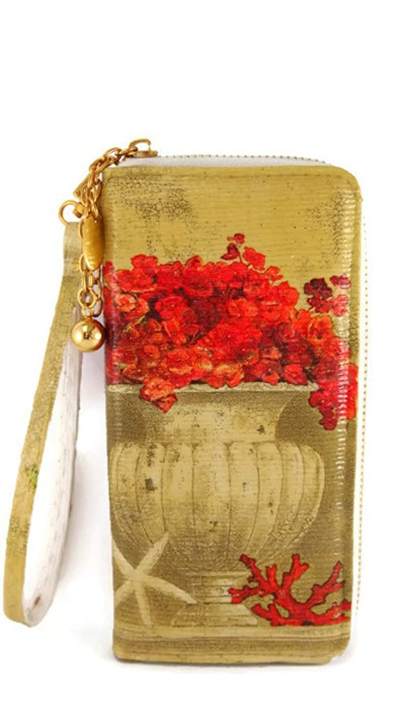 Thai Handmade Red Hydrangea - Gold Zip Woman Wallet Clutch Purse Bag Handbag