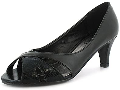 a1270d6f615 Womens Ladies Black Wide Fitting Peep Toe Court Shoes With 6Cm Heels. -  Black