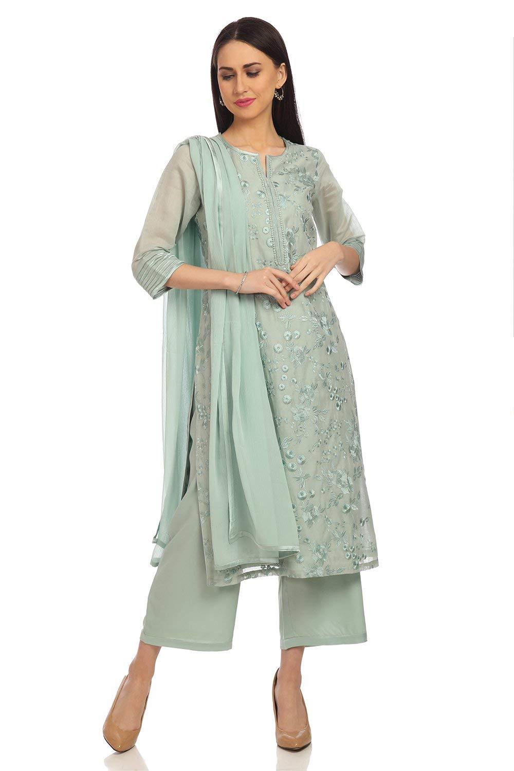 BIBA Sea Green Straight Poly Cotton Suit Set Size 34