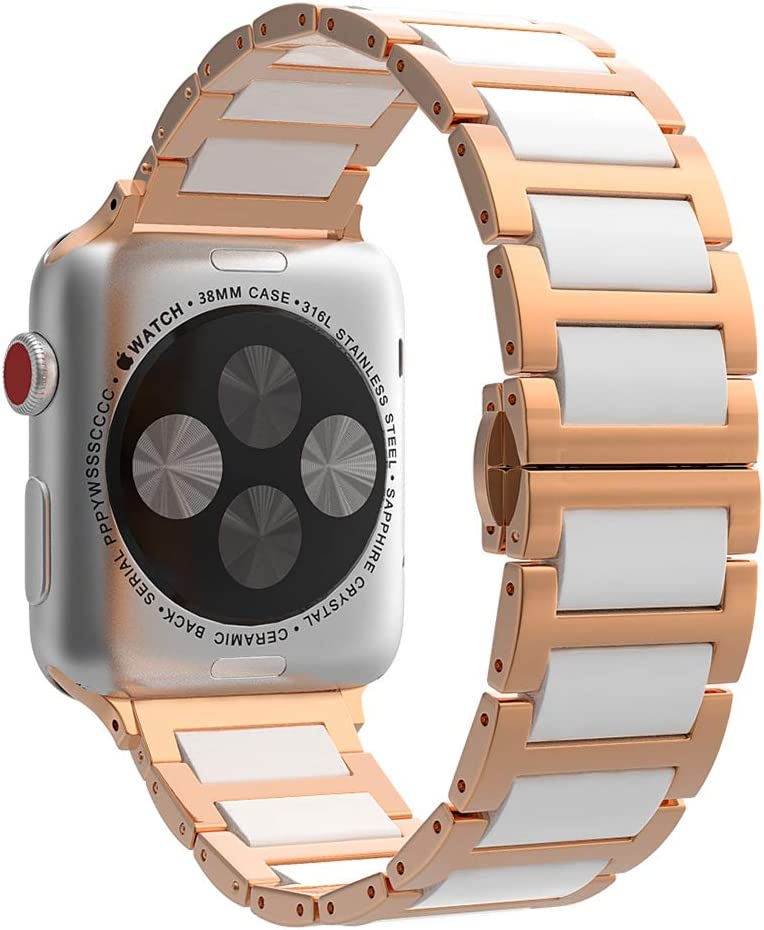 MoKo Watch Band Compatible with Watch 38mm 40mm Series 5/4/3/2/1, Stainless Steel Ceramics Link Replacement Strap Bracelet with Butterfly Buckle Clasp - Rose Gold(Not Fit Watch 42mm 44mm)
