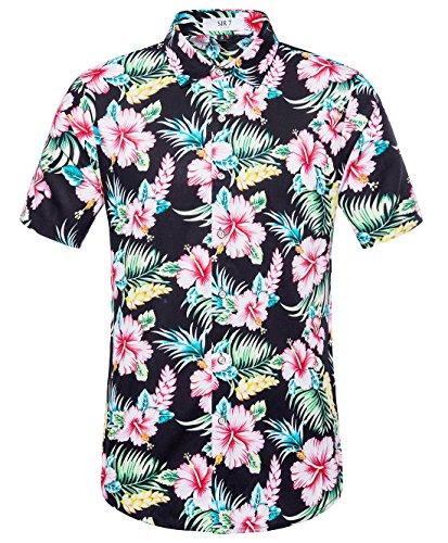 Flower Red Shirts (SIR7 Men's Hawaiian Flower Ptint Casual Button Down Short Sleeve Shirt Red M)