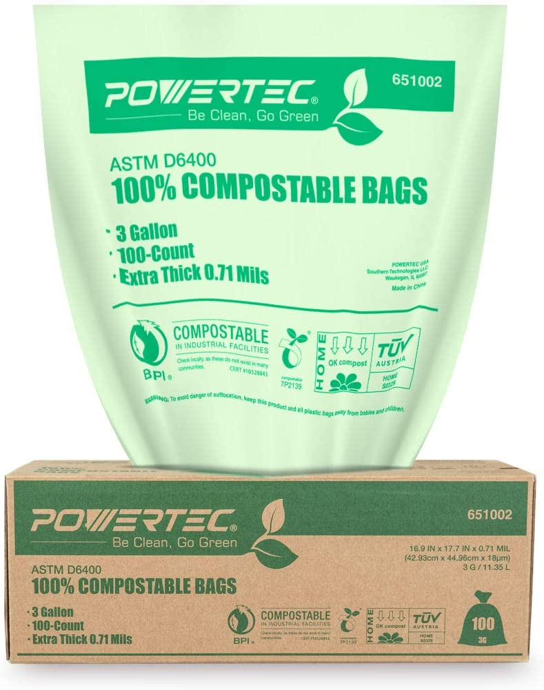 POWERTEC ASTM D6400 Certified Compostable Bags – 100 Count | 11.35 Liter - 3 Gallon Trash Bags, 0.71 Mil, US BPI and European OK Compost Home Certification - 100% Sustainable Green Products