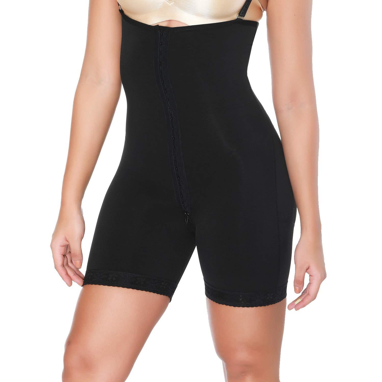 MISS MOLY Women Black Bodysuits Firm Abdomen Control Full Shaperwear Garment Underwear Body Shaper Black Lace Hook Eye L by MISS MOLY