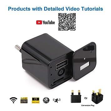 WiMaker cámara espía Oculta WiFi 1080P HD Mini Cargador USB Cámara Inalámbrica Vigilancia de Seguridad en el hogar con Monitor Remoto, detección de ...