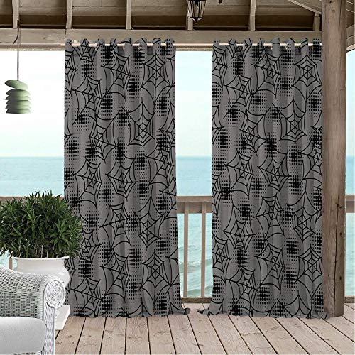 Linhomedecor Gazebo Waterproof Curtains Halloween Spider Web pergola Grommets Print Curtain 108 by 108 -
