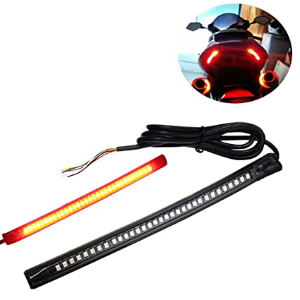 amazon com: motorcycle led strip flexible universal brake lights turn signal  light strip flashing tail stop lights for car atv rv: automotive