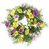 Collections Etc Lighted Hummingbird and Morning Glories Wreath