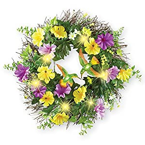Collections Etc Lighted Hummingbird and Morning Glories Wreath 45