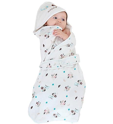 OKSakady 100% algodón suave y fino con capucha bebé Swaddle Recién ...