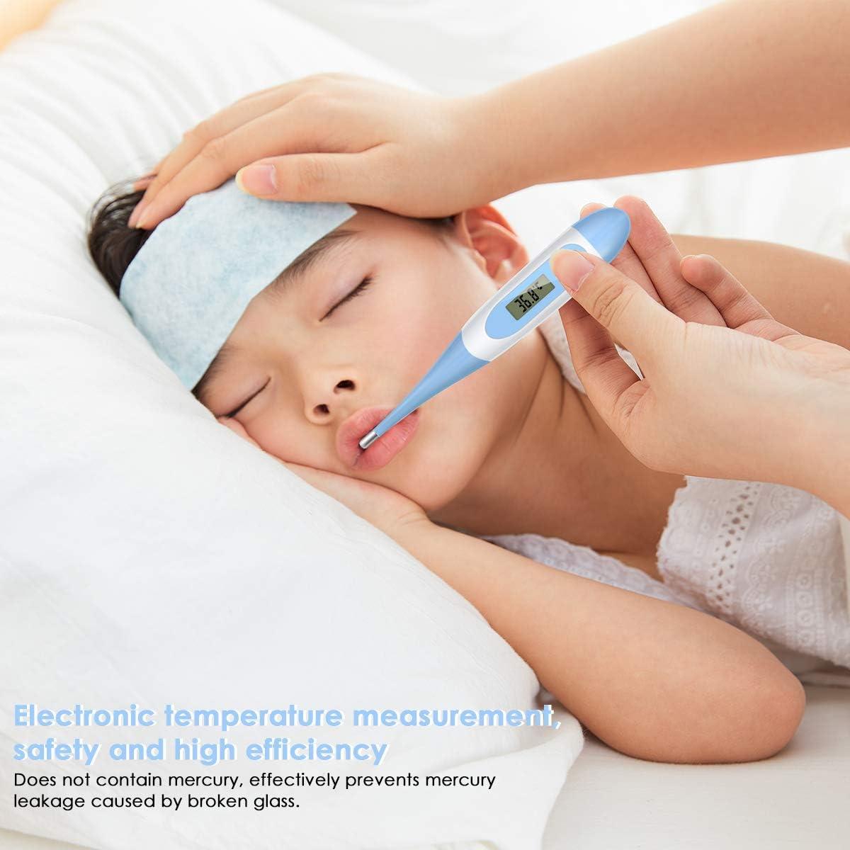 DELMO Thermom/ètre M/édical Thermom/ètre Num/érique de Fi/èvre pour Enfants Adulte Flexible Pointe Aisselle Compteur de Temp/érature Orale