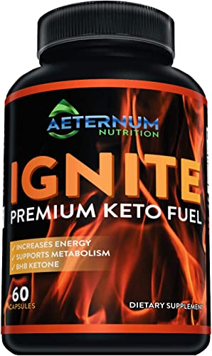 Ignite – Premium Keto Fuel – Advanced Weight Loss for Men and Women – Boost Energy and Metabolism Naturally – Made in The USA – Non-GMO – BHB Salts – 60 Capsules