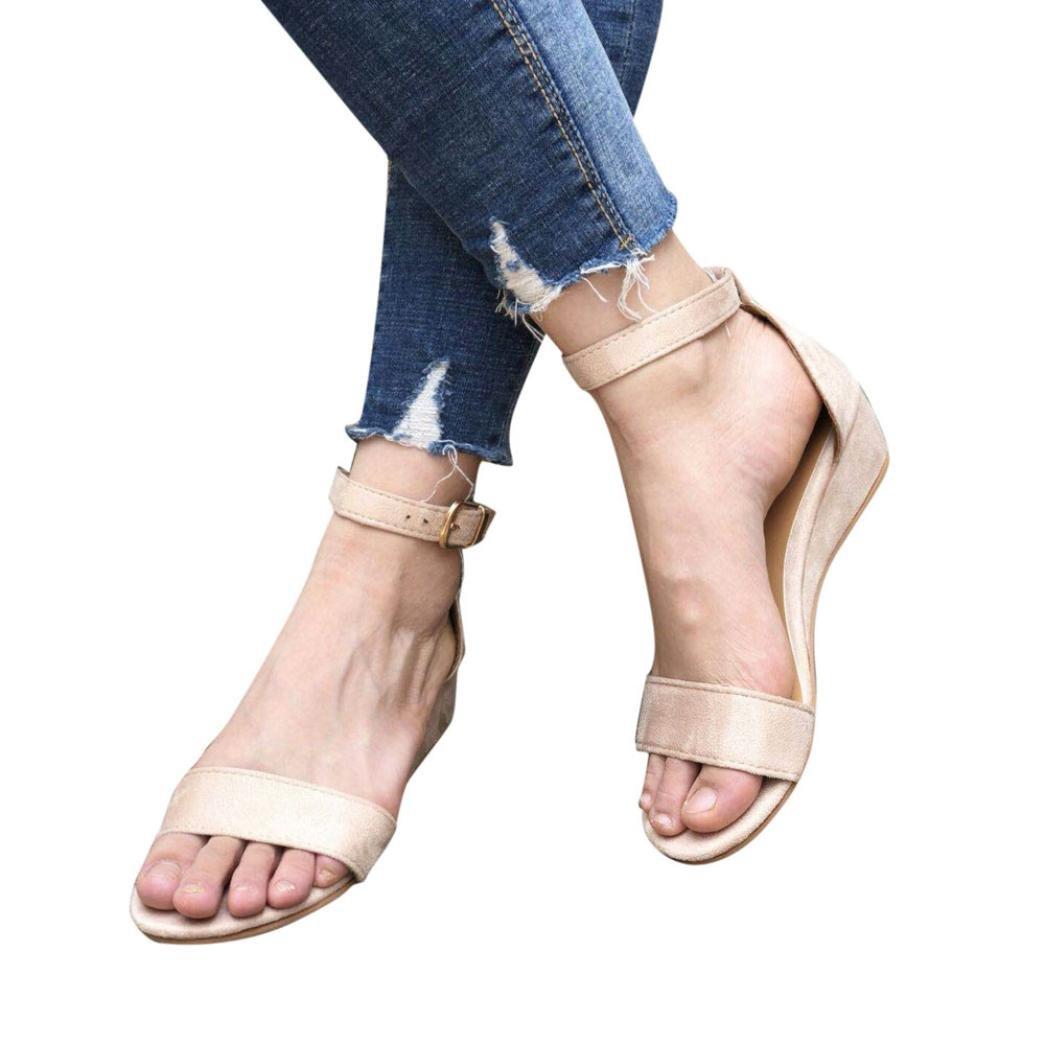 FORUU Women Ladies Summer Roman Shoes Buckles Wedges Ankle Strap Sandals Casual (39, Khaki)