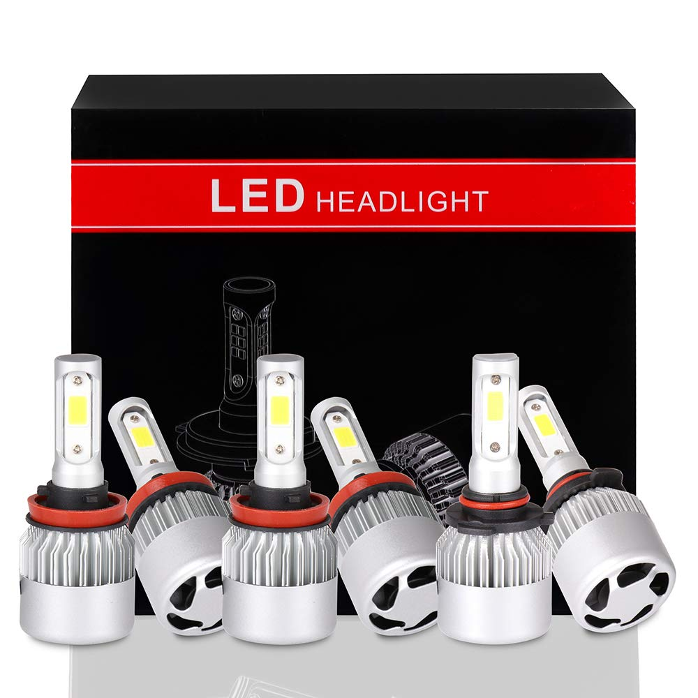 ECCPP 9005+9145+9006 LED Headlight Bulb Super Bright Cree White Auto Headlamp Conversion Kit High Low Beam - 22800Lm 240W 6000K Focus Light - 1 Years Warranty(Pack of 6)