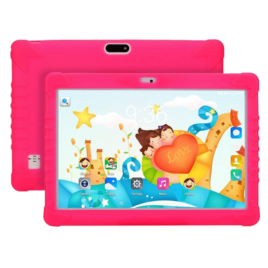 Smart Tablet Ikevan Tablet PC For Children Android 6.0 1+16GB IPS 10.1Inch Bluetooth WIFI Bundle Case US Children's early Education Birthday Gift for Children (Red)