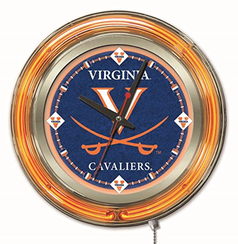 Holland Bar Stool Company NCAA Virginia Cavaliers Double Neon Ring 15-Inch Diameter Logo Clock ()