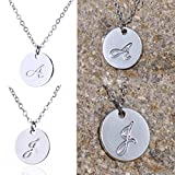 AOLO Alphabet Stamped Initial Pendant Necklace Tiny Charm J