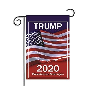 Wenasi Donald Trump Flag Outdoor Funny Decorative Yard Flags for Garden Yard Lawn No Include Flag Pole Trump 2020 Keep America Great 12 x 18 inch