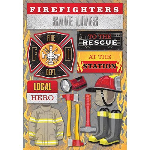 KAREN FOSTER 11585 Design Acid and Lignin Free Scrapbooking Sticker Sheet, Firefighter